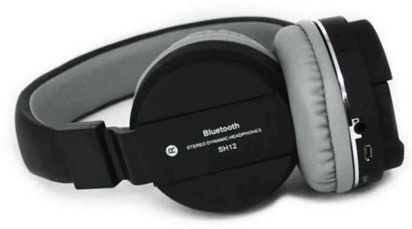 f4f1ff0a05f BIRATTY SH-12 Wireless/Bluetooth Headphone with FM and SD Card Slot Bluetooth  Headset with Mic (Black, On the Ear)