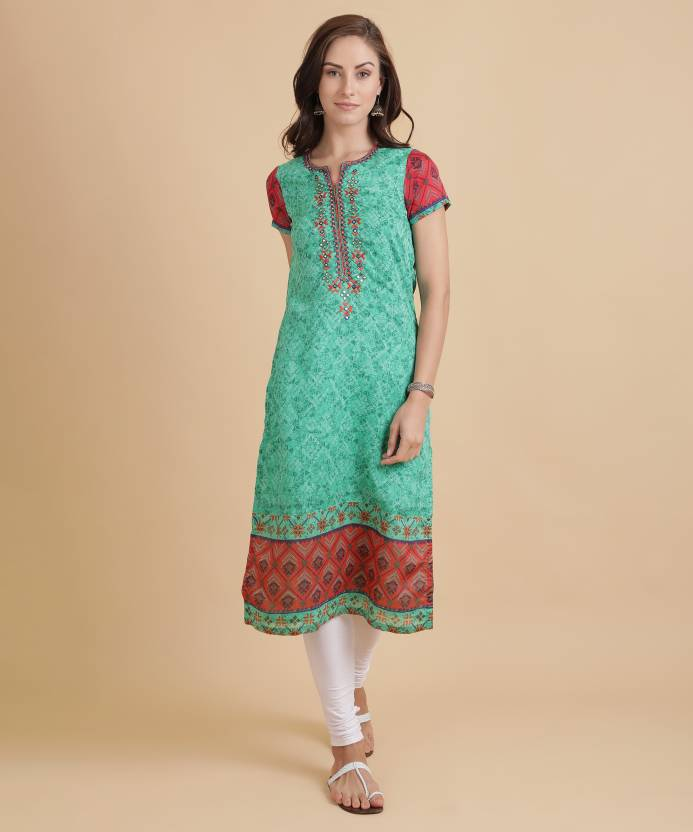 9d3dc05e7 Biba Women s Embroidered Straight Kurta - Buy TEAL GREEN Biba ...