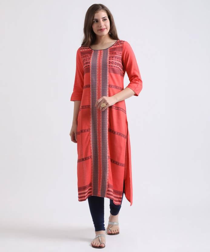 270e1cda53 Aurelia Women's Self Design Straight Kurta - Buy DARK PEACH Aurelia ...