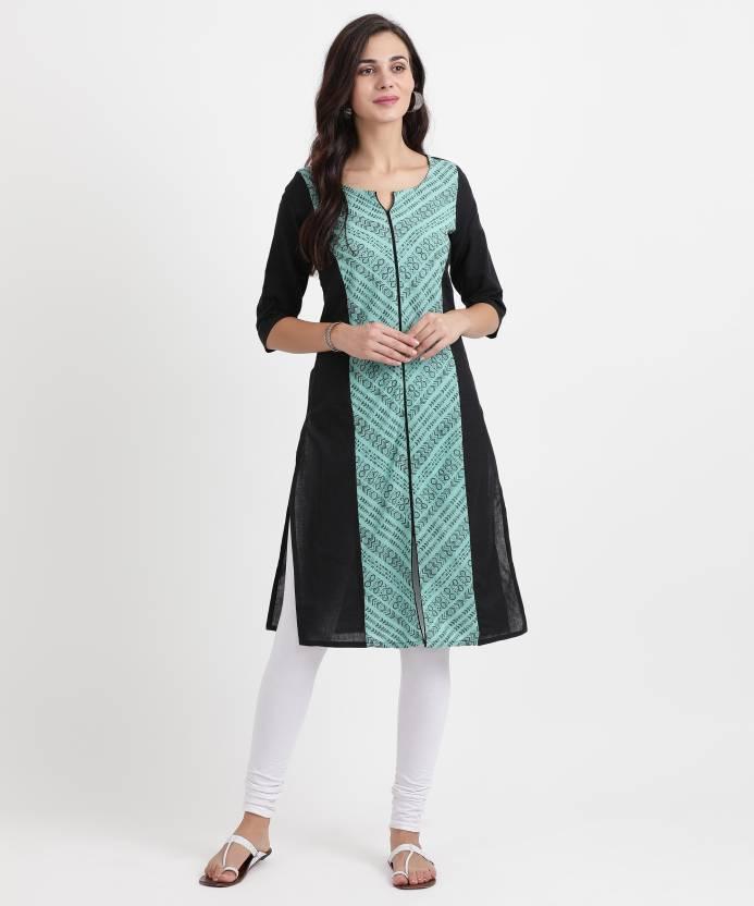 1b431000774 Aurelia Women Self Design Straight Kurta - Buy BLACK Aurelia Women ...