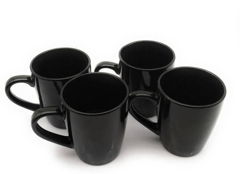 Satyam Kraft Pack Of 4 Ceramic Tea Cups Coffees For Home Plain Black