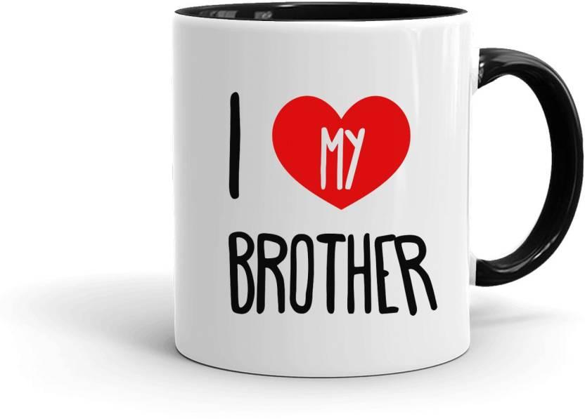 Mugkin I Love My Brother Printed Innerblack Ceramic 350ml For Bhai
