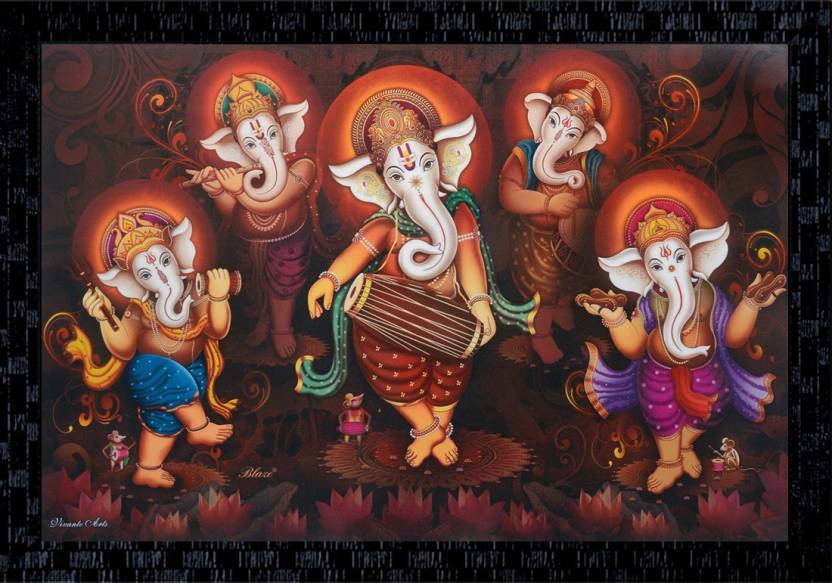 Janki Dancing Ganesha Modern Art Wall Paintings With Frame Canvas 14