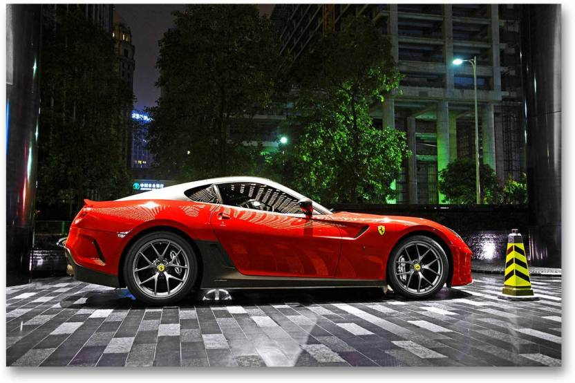86543add70c3 Car Wall Poster - Ferrari Red - Super Cars - HD Quality Wall Poster Paper  Print (18 inch X 12 inch
