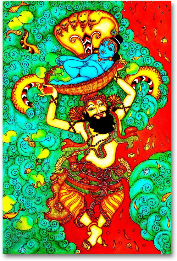 Wall Poster Bal Gopal Krishna With Vasudev Traditional Hd