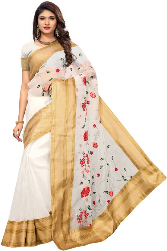 9abaf4baf90 Buy SHOPPING CLUE Embroidered Chanderi Poly Chanderi White Sarees ...