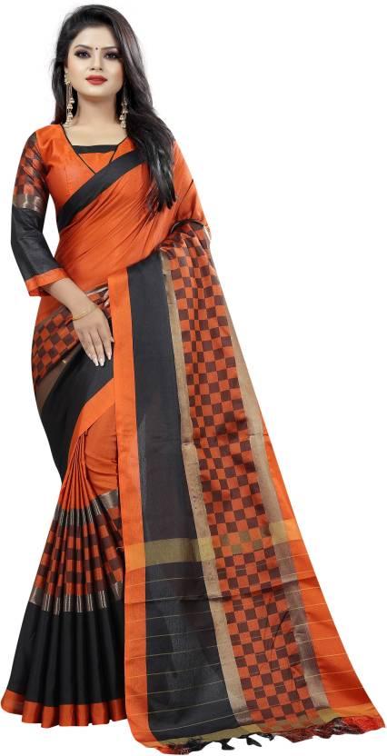 e1b8bd2d04 Buy Varni Fashion Solid Banarasi Cotton Silk Orange Sarees Online ...