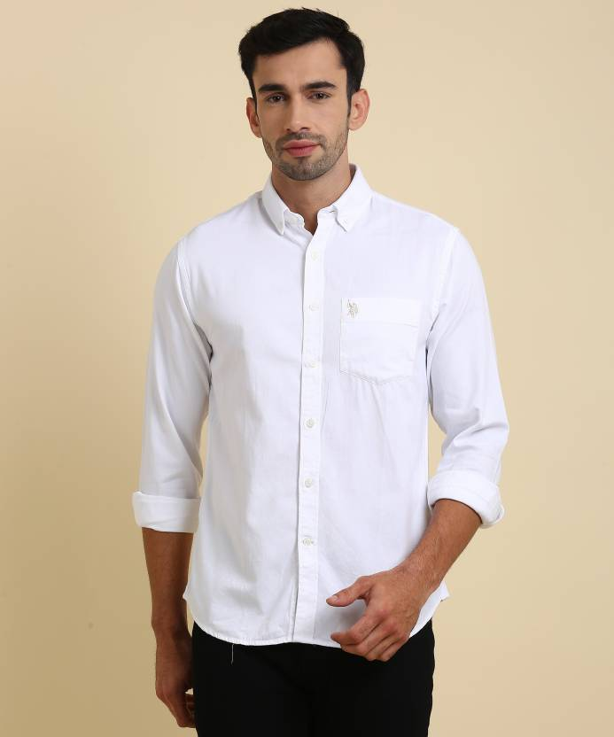 4f9bfcd82 U.S. Polo Assn Men s Solid Casual White Shirt - Buy U.S. Polo Assn Men s  Solid Casual White Shirt Online at Best Prices in India
