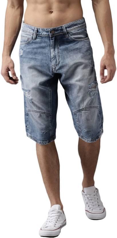 d889b9850 HERE&NOW Solid Men Blue Denim Shorts - Buy HERE&NOW Solid Men Blue Denim  Shorts Online at Best Prices in India | Flipkart.com