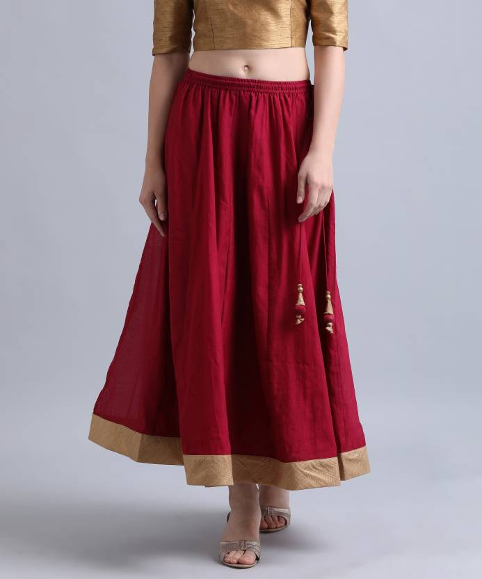 88f516a874 Biba Solid Women's Flared Maroon Skirt - Buy BURGUNDY Biba Solid Women's  Flared Maroon Skirt Online at Best Prices in India | Flipkart.com