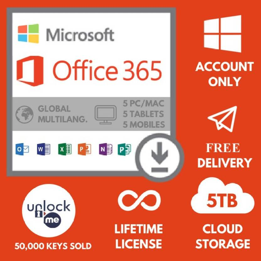 Microsoft Office 365 - 5 PC, lifetime Subscription Price in