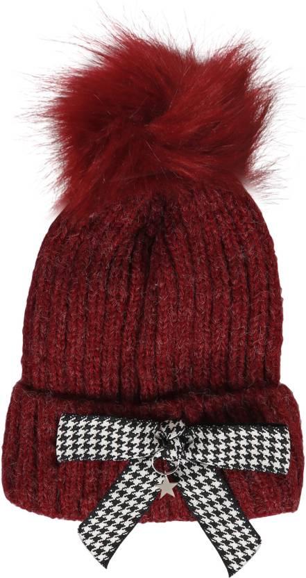 b6d11477db6 Friendskart Embroidered Women Skullies woolen big fur pompon fluffy hats  Adult winter ponpon caps pompom female knitted Beanie girls035 Cap - Buy ...