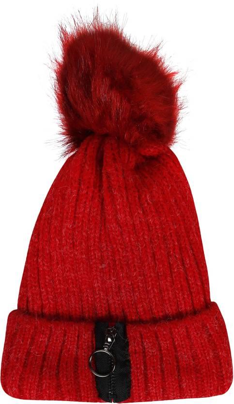 e4324eb6d Friendskart Embroidered Women Skullies woolen big fur pompon fluffy ...