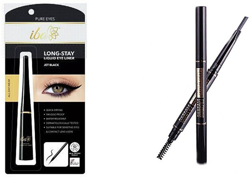 iba halal care Long Stay Liquid Eyeliner 6.5 ml (Jet Black) with 2 in 1 Eyebrow Pencil with Eye Brows Brush Waterproof ...