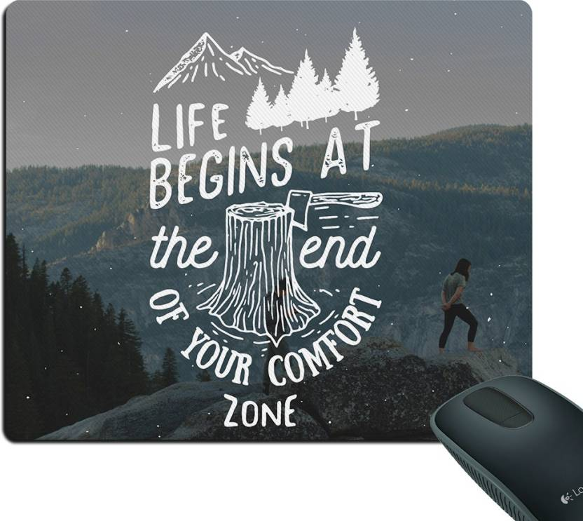 5ceafab5fbe6 Style Crome Life Begins at the end of your comfort zone Mouse Thick ...