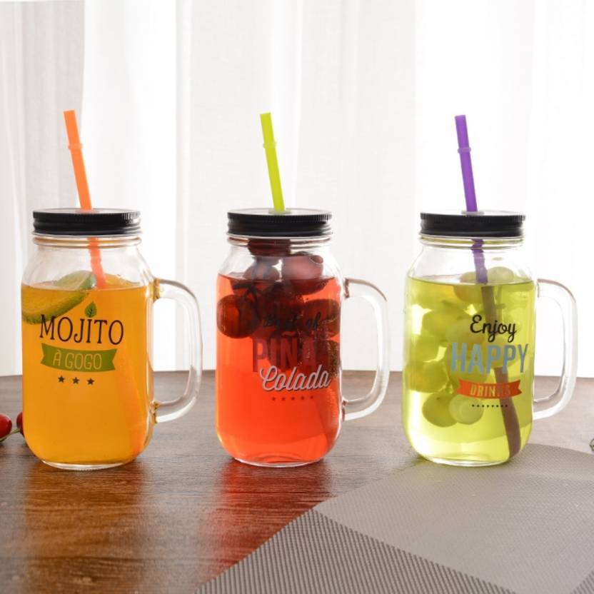 Satyam Kraft (Pack of 3)Mocktail Mason Jar with Lid and Straw - 800 ml /new year ...