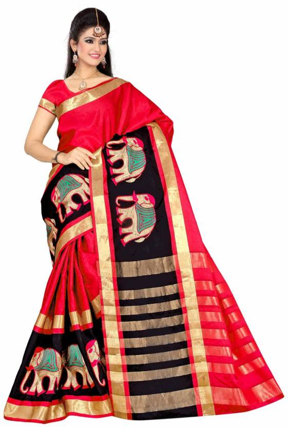 a5b035f762 Buy UMA FASHION Animal Print Kerala Cotton Silk Red Sarees Online ...
