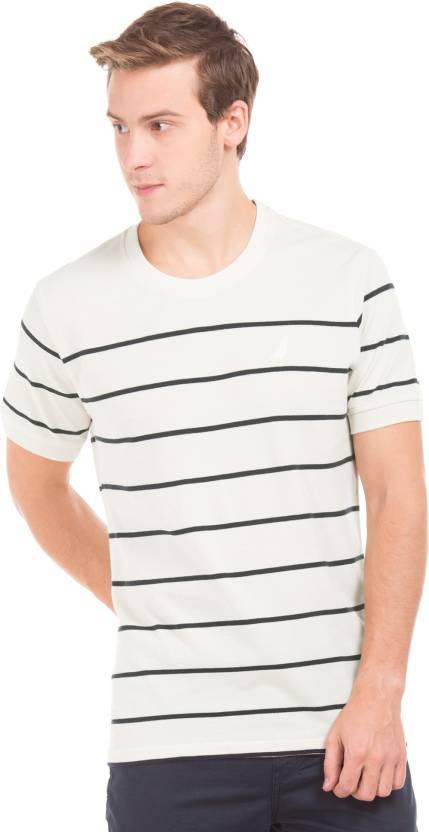 4b626b314f Nautica Striped Men's Round Neck White T-Shirt - Buy Nautica Striped Men's  Round Neck White T-Shirt Online at Best Prices in India | Flipkart.com