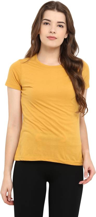 752ca90e219f Chkokko Solid Women Round Neck Yellow T-Shirt - Buy Chkokko Solid Women Round  Neck Yellow T-Shirt Online at Best Prices in India | Flipkart.com