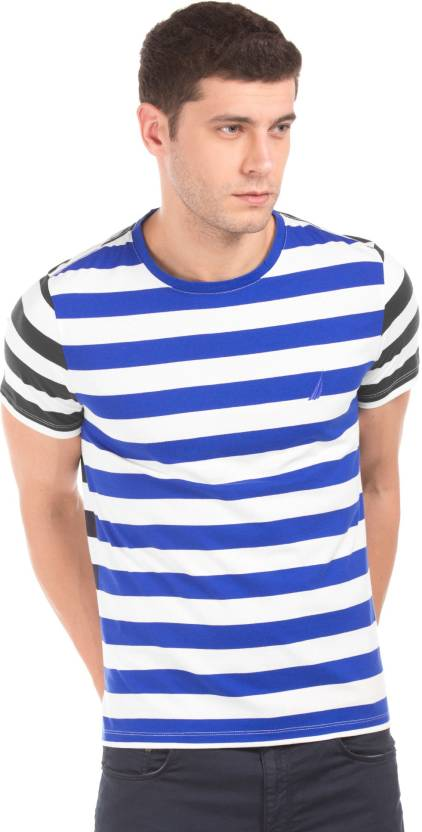 0ea8eff788 Nautica Striped Men Round Neck Blue, White T-Shirt - Buy Nautica Striped  Men Round Neck Blue, White T-Shirt Online at Best Prices in India |  Flipkart.com