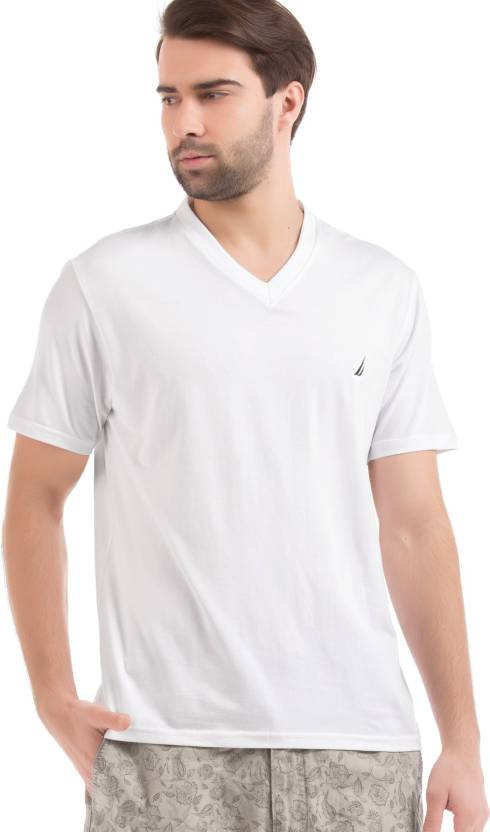a1398579 Nautica Solid Men V-neck White T-Shirt - Buy Nautica Solid Men V-neck White  T-Shirt Online at Best Prices in India | Flipkart.com