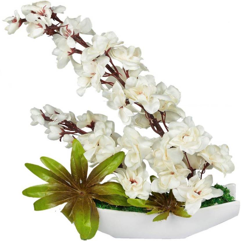 Crystu artificial plant with pot indoor plant white blossom crystu artificial plant with pot indoor plant white blossom artificial planttree for home decor mightylinksfo