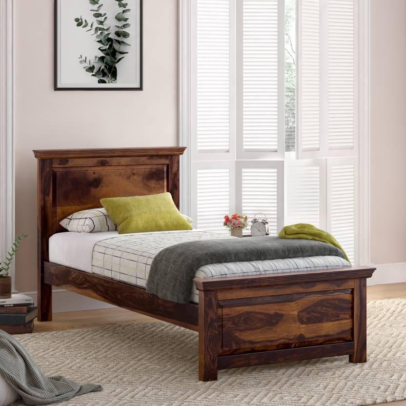 Flipkart Perfect Homes PureWood Sheesham Single Bed Finish Color   Walnut