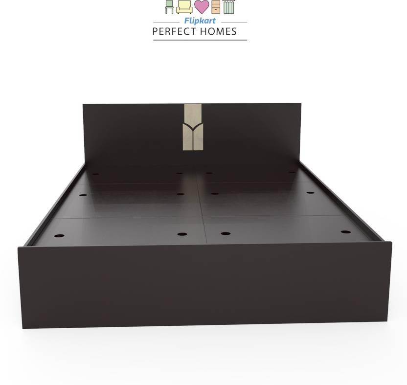 Flipkart Perfect Homes Rondo Engineered Wood Queen Box Bed Finish Color   Dark Wenge/Wenge  Flipkart Perfect Homes Beds