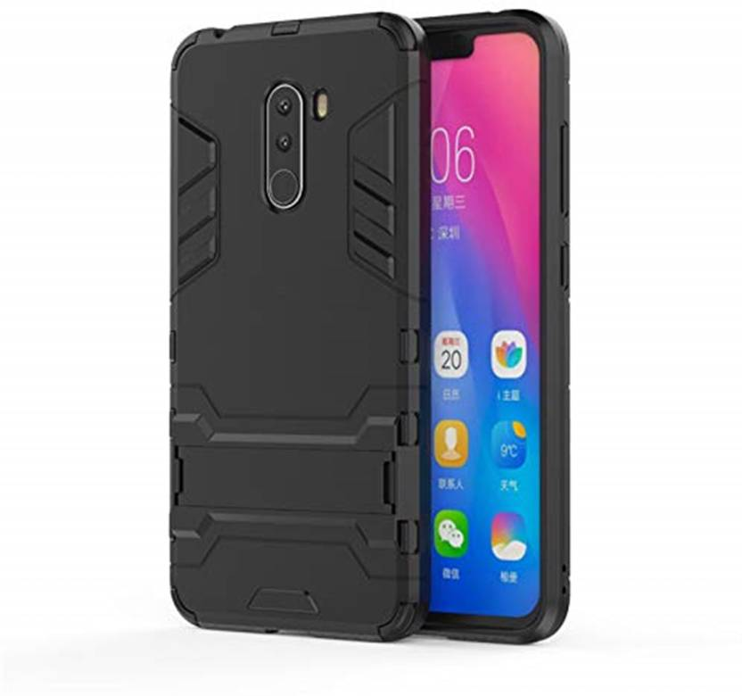 check out 8e238 43d45 Tarkan Back Cover for Heavy Duty Shockproof Armor Kickstand Back Case Cover  For Poco F1 (Black) Xiaomi Pocofone F1