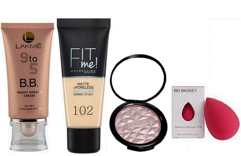 big Basket sponge puff, Lakme 9to5 bright benefit cream,fit me matte+pore less foundation with beauty makeup illuminator (Set of 4) (Set of 4)