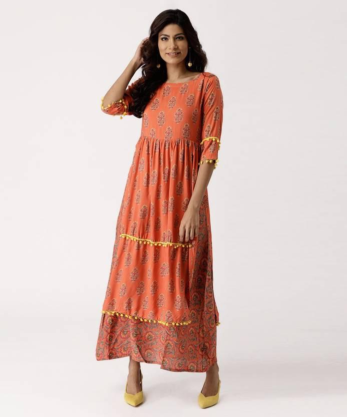 935ea3d6f22 Libas Women s Maxi Orange Dress - Buy Libas Women s Maxi Orange Dress  Online at Best Prices in India