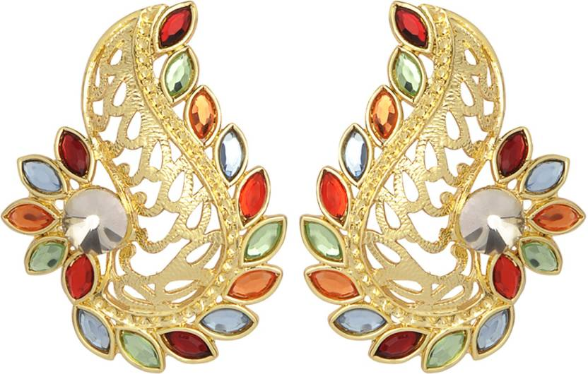 Flipkart Accessher Rhinestone Stones Used Gold Filigree Oversized Stud Earrings With Multicolored Br Earring Online At