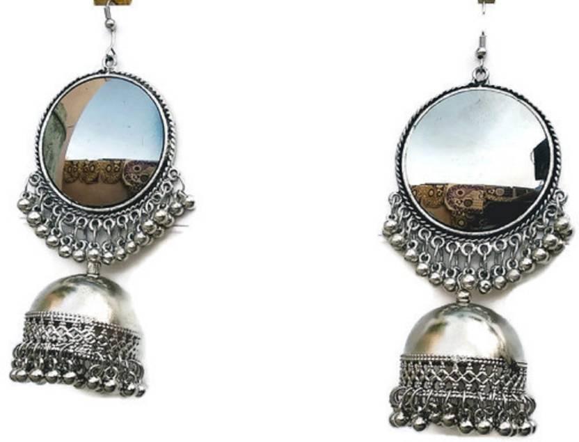 938a4b810 Nityakshi Women's Girl's Oxidized Silver Pearl & Mirror Work Designer  Earring | Earrings for women stylish