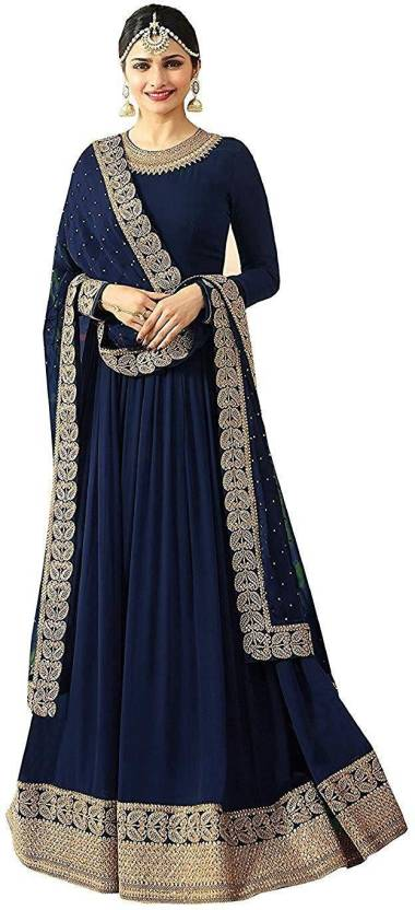 b29550edc91 MR CROZY Faux Georgette Embroidered Semi-stitched Salwar Suit Dupatta  Material