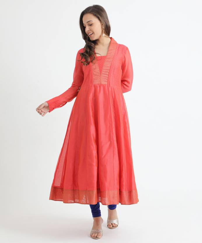 30c3cfab8 Fabindia Women Solid Anarkali Kurta - Buy Fabindia Women Solid ...