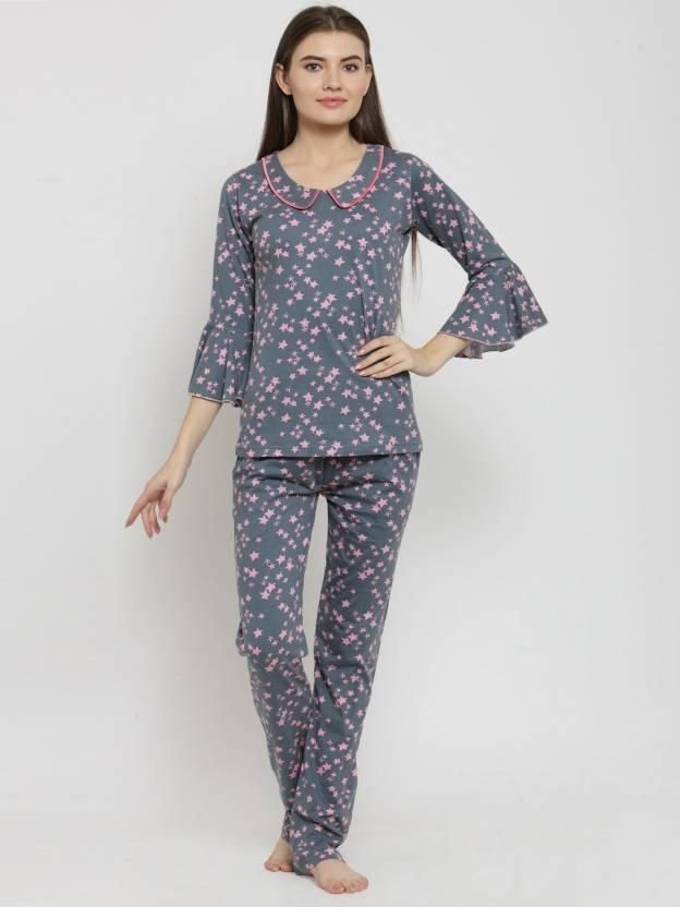 Claura Women s Printed Grey Top   Pyjama Set Price in India - Buy ... 28d205157