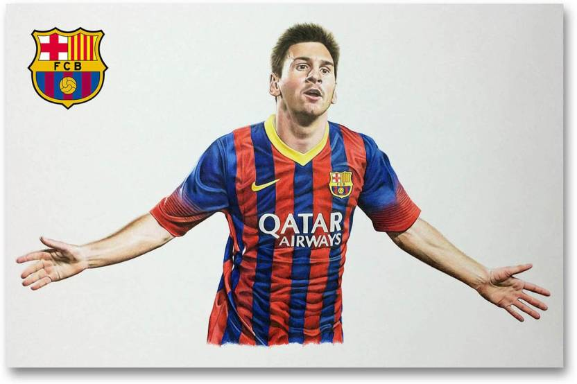 e54f8cfa0 FC Barcelona Wall Poster - Lionel Messi - Fan Art - HD Quality Football  Poster Paper Print (12 inch X 18 inch, Rolled)