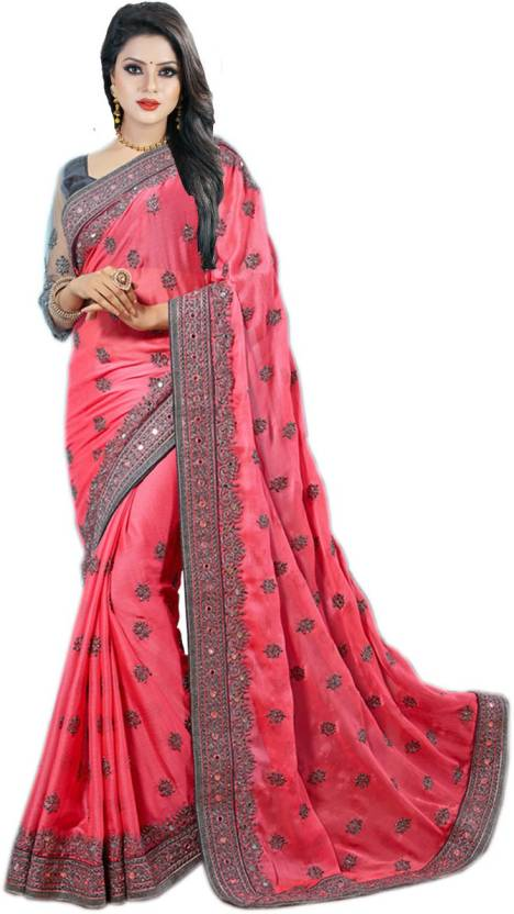 b6a44e1ac37487 Buy Designer Bahu Embroidered Bollywood Chiffon Pink Sarees Online ...