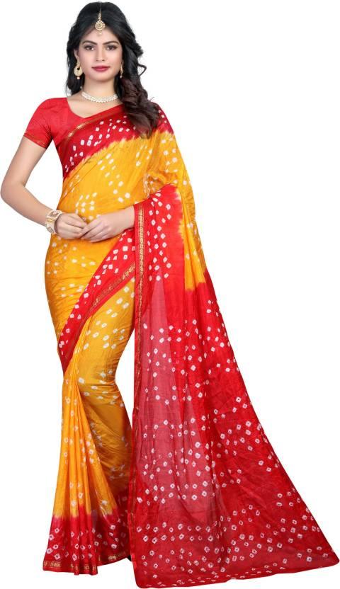 923429d504c393 Divine International Trading Co Self Design, Printed Bandhani Art Silk Saree  (Multicolor)