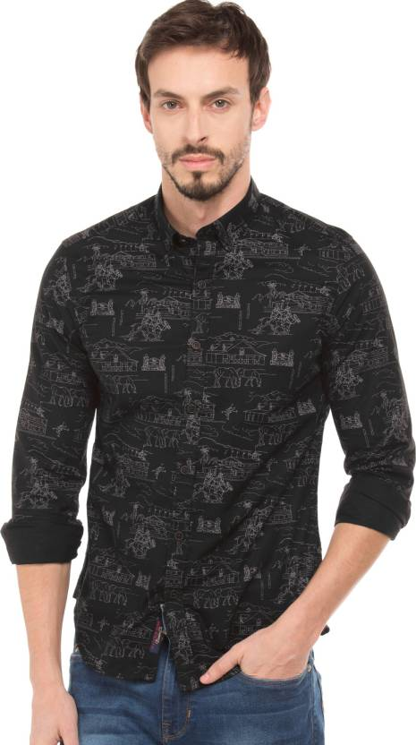 2dbb7cb1b7f U.S. Polo Assn Men Printed Casual Black Shirt - Buy U.S. Polo Assn Men  Printed Casual Black Shirt Online at Best Prices in India