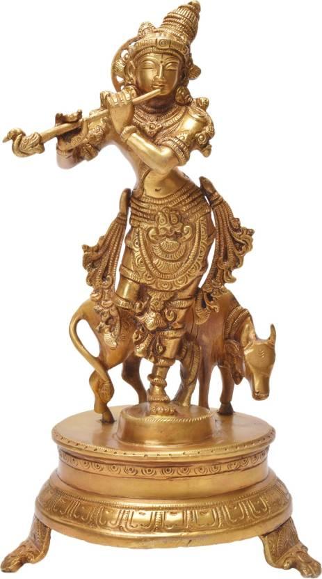 874c8441c6d GAGAN BRASS LORD KRISHNA COW KRISHNA FLUTE RADHA KRISHNA Decorative  Showpiece - 11 cm (Brass)
