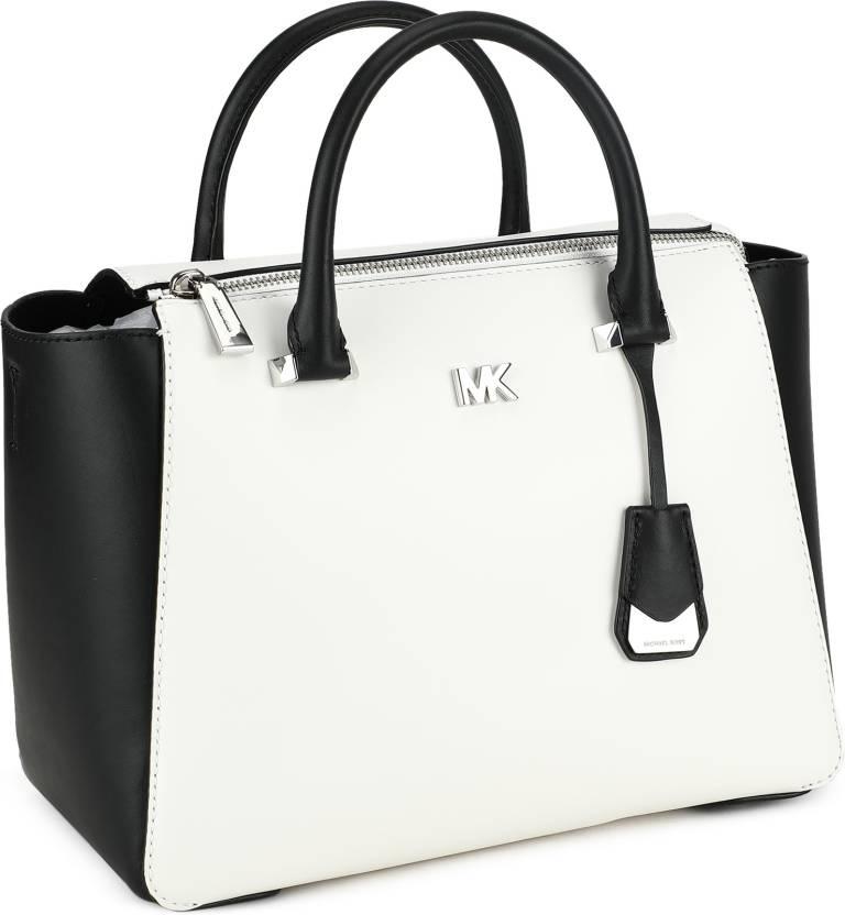 63ad967839da83 Michael Kors Women Casual Black, White Genuine Leather Sling Bag  OPTICWHT/BLK - Price in India | Flipkart.com