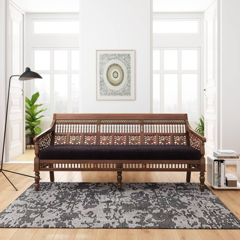 Flipkart Perfect Homes PureWood Sheesham 3 Seater Fabric Sofa