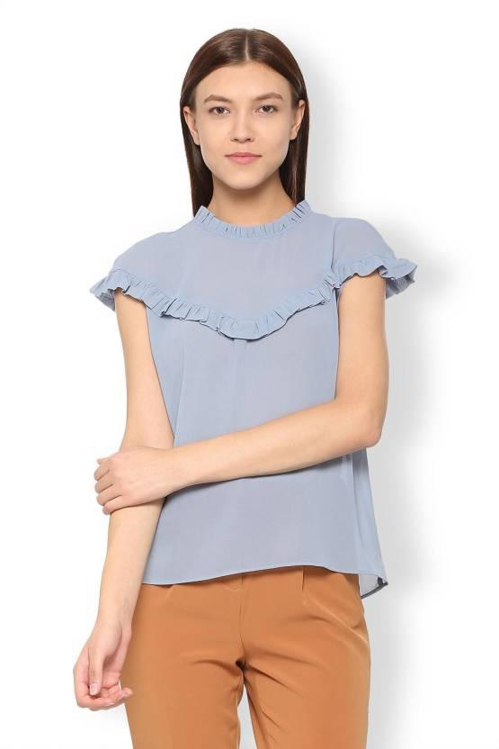 Van Heusen Casual Cap Sleeve Solid Women s Grey Top - Buy Van Heusen Casual  Cap Sleeve Solid Women s Grey Top Online at Best Prices in India  9baf6ed4d