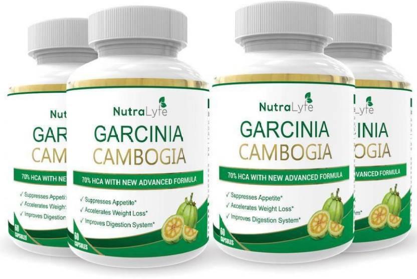 Nutralyfe 100 Natural Herbal Garcinia Cambogia Extract 70 Hca For Fat Burn 60 Capsules Pack Of 4