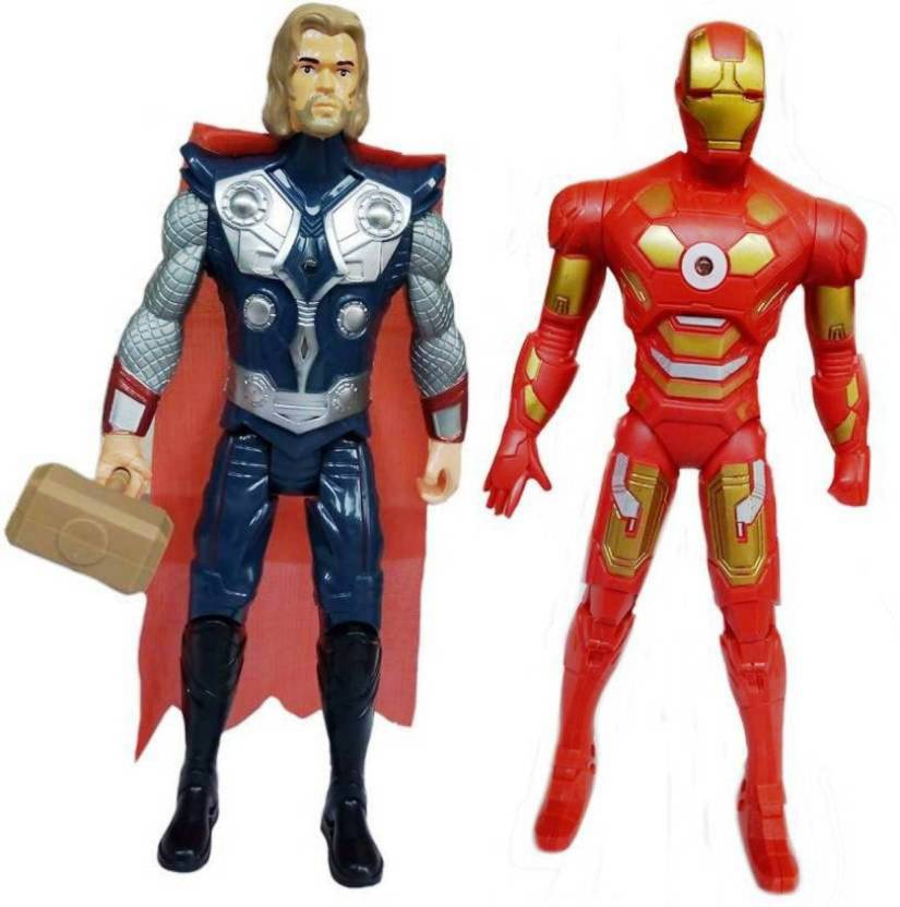 SHIVA1341 THOR AND IRON MAN AVENGERS SUPERHEROES ACTION FIGURES TOYS FOR KIDS WITH LED LIGHTING (