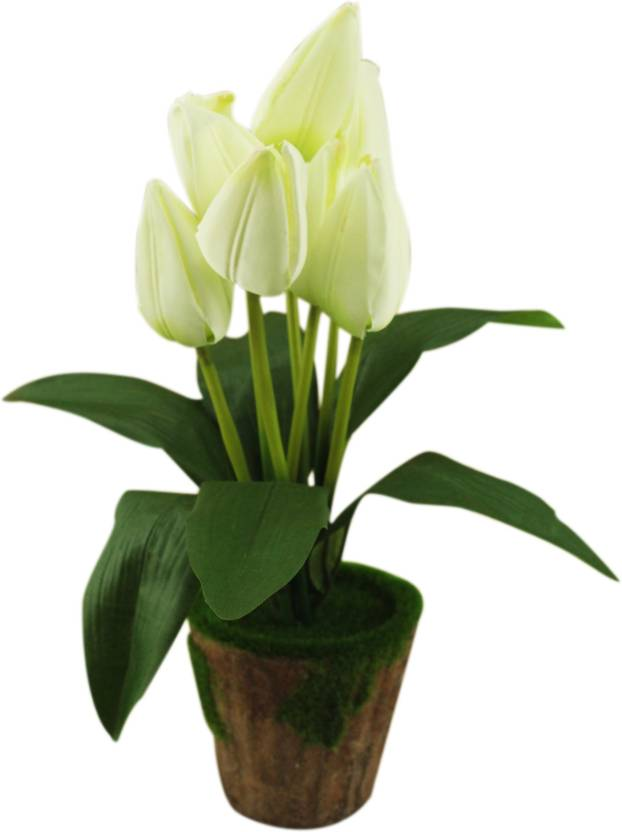 Avmart Light Green Tulip 15 Inch Artificial Plants For Indoor Outdoor Home Office Garden Lawn Decoration With Pot Gift Decor Rose