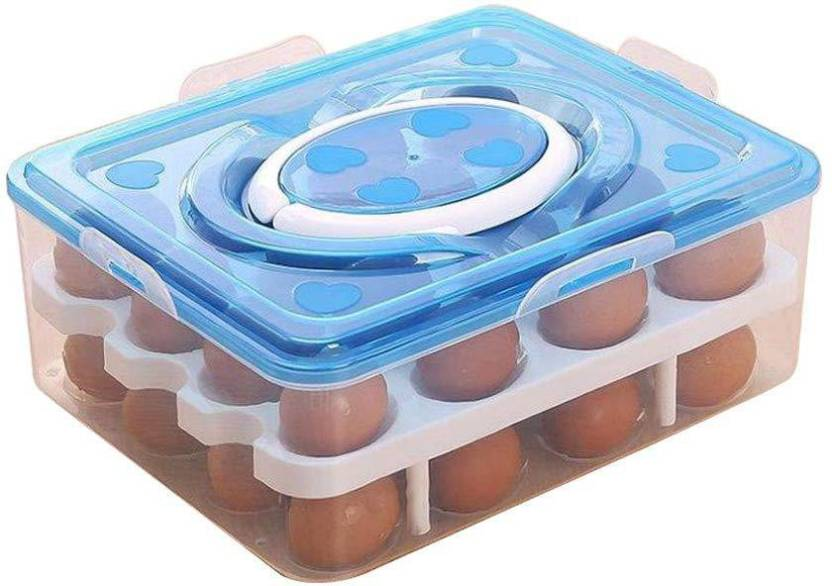 Alwick Double Layer Plastic Kitchen Refrigerator 32 Grid Egg Container With Handle Storage Box/Holder
