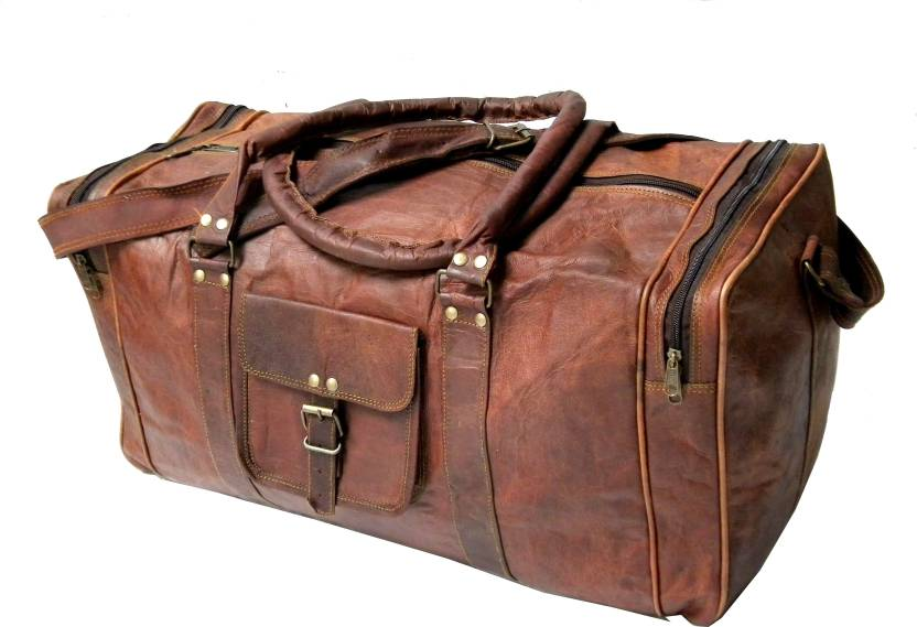 39a2560a6f Printbreed Leather 24 Inch Duffel Travel Gym Sports Overnight Weekend  Leather Bag Travel Duffel Bag (Brown)