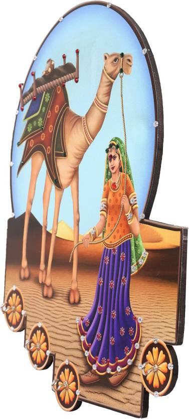 Ratash.com Wood Key Holder 4 Hooks, Multicolor